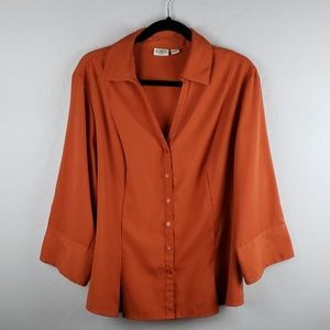 Cato Woman Orange 3/4 Sleeve Button V-neck Blouse